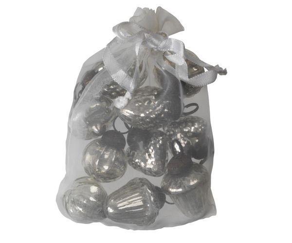 Billede af 10 små julekugler sølv